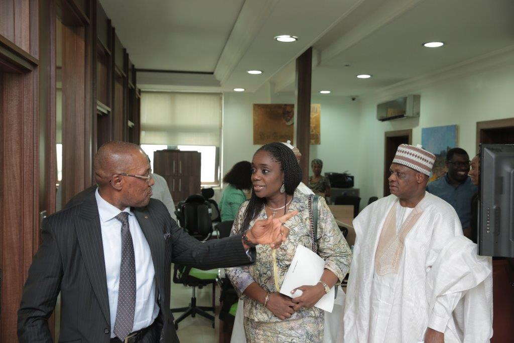 Honorable Minister of Finance, Kemi Adeosun. Prof Inyangete and Uche Orji, MD of NSIA